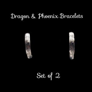 Jewelry - Chinese Dragon & Phoenix Silver Fashion Bracelets